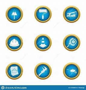 Blueprint, Icons, Set, Flat, Style, Stock, Vector