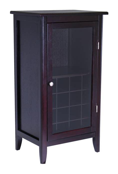 wine glass cabinet winsome wine cabinet 16 bottle one door glass rack