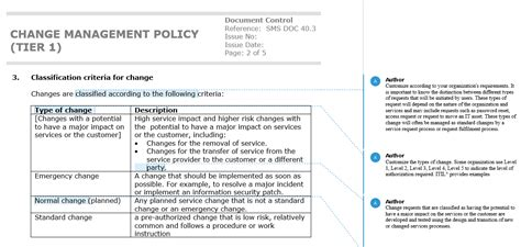 Change Policy Template by Define Your Classification Of Changes Correctly With A