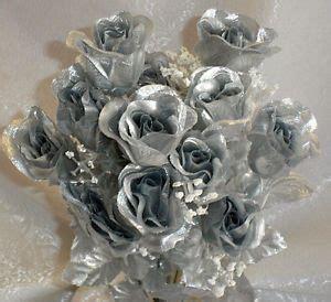 long stem roses silver mercury silk wedding flowers