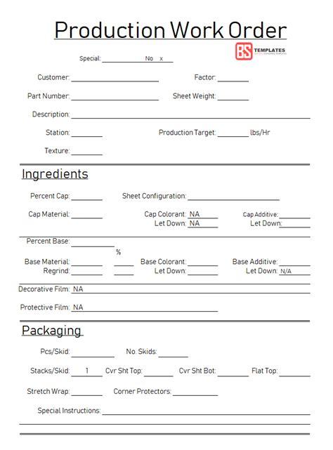 work order   work order form format template