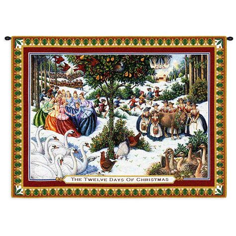 "Twelve Days Of Christmas Tapestry Wall Hanging, H26"" X W34"""