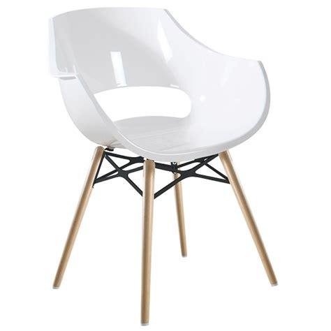 chaise blanche opal wox pieds bois naturel pas cher