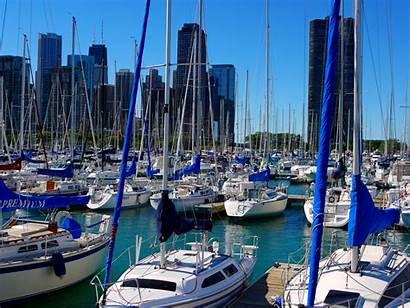 Chicago Navy Pier Marina Boats Sailboat Sailing