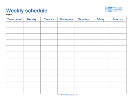 Monday Through Saturday Calendar Template by Weekly Schedule Template 2017 Printable Calendar