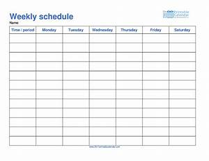 Weekly schedule template 2017 printable calendar for Monday through saturday calendar template