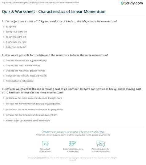 quiz worksheet characteristics  linear momentum