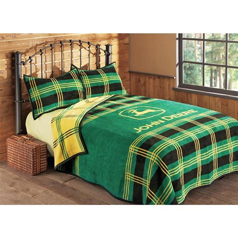 John Deere® Plaid Bed Blanket  106932, Quilts At