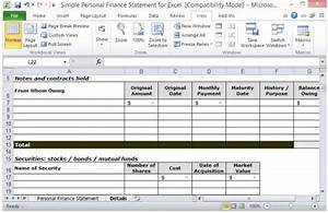 simple personal finance statement template for excel With asset and liability statement template