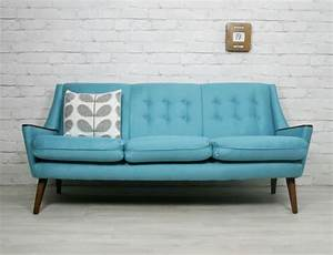 Details about retro vintage mid century danish style sofa for Vintage sectional sofa ebay