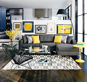Grey Living Room Decor With Pops Of Yellow