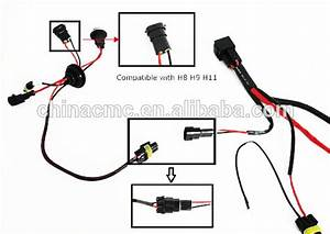 H3 H4 H7 H11 9005 9006 Hid Conversion Kit Relay Wire Harness Adapter Wiring Hid Male Female