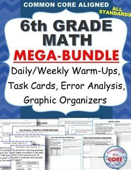 6th Grade Math Common Core Assessments, Warmups, Task Cards, Error Analysis  Problem Solving