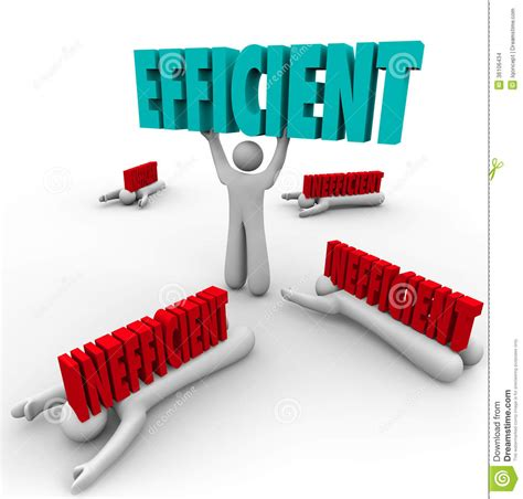 Efficient Vs Inefficient Words Man Lifting Word Others