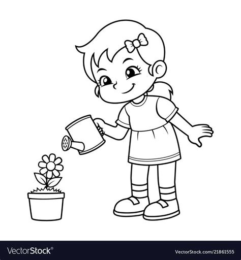 girl watering  flower plant bw    preview