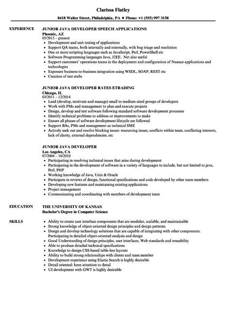 junior java developer resume sles velvet