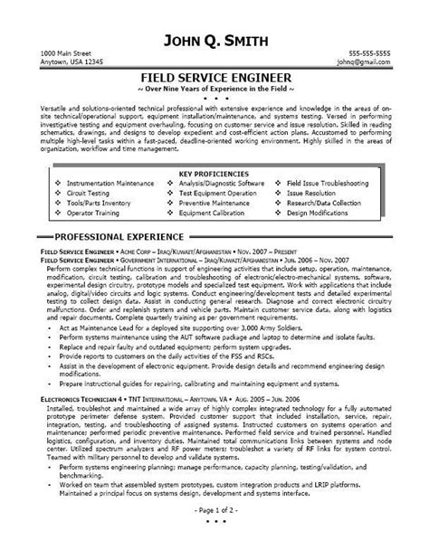 resume for field service technician mri field service engineer resume