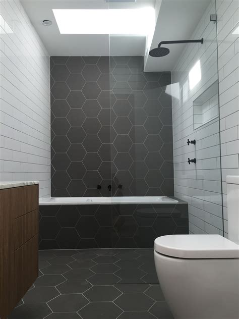 Black Bathroom Floor Tiles by Hexagonal Tiles Monochrome Bathroom Matt Black Fittings