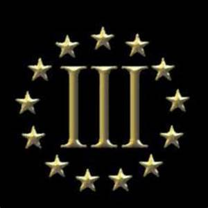 The stars represent the 13 original colonies and the Roman