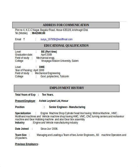 Automobile Engineering Resume by Engineering Resume Template 32 Free Word Documents Free Premium Templates