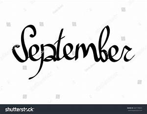 September Isolated Calligraphy Lettering Word Design Stock ...