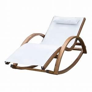 Fauteuil Bain De Soleil : outsunny chaise longue fauteuil ber ante bascule transat bain de soleil rocking chair en bois ~ Teatrodelosmanantiales.com Idées de Décoration