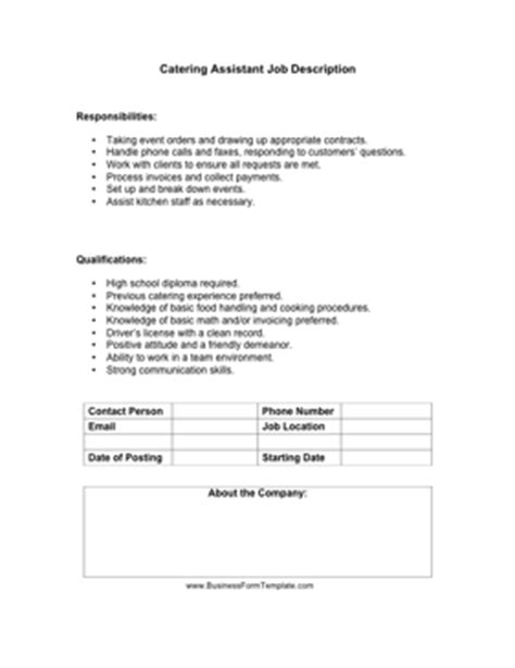 Catering Description Duties by Catering Assistant Description Template