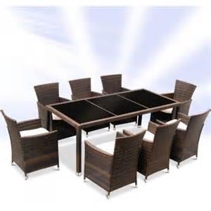 rattan garden furniture dining table and 8 chairs dining