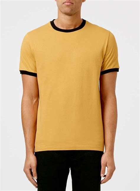 TOPMAN Gold And Black Muscle Fit Ringer T-shirt in Yellow for Men - Lyst