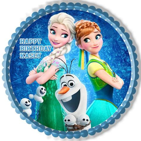 Happy Birthday Picture 2 by Frozen Fever Elsa Edible Cake Topper Cupcake