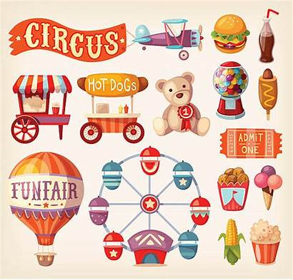 Fair Fun Icons Vector Vectors Circus Machine