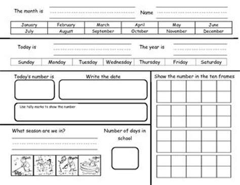 kindergarten calendar math journal sheets includes blank