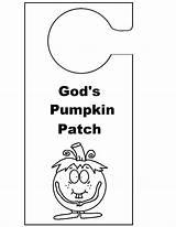 Pumpkin Hangers Door Knob God Hanger Template Sunday Doorknob Patch Coloring Crafts Christian Pages Templates Children sketch template