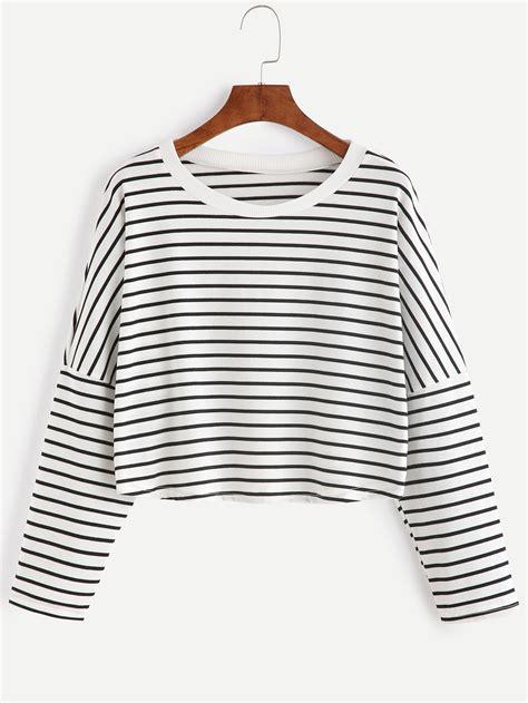 black curtains for living room contrast striped drop shoulder crop t shirtfor romwe
