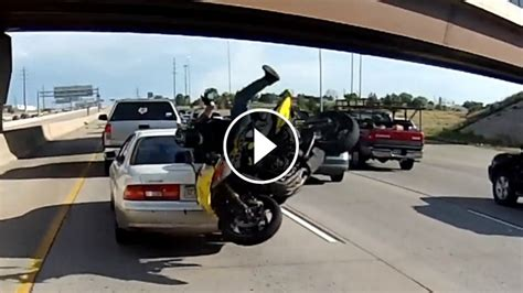 Motorcycle Crashes Into Automobile So Badly And The Rider