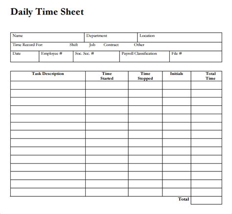 Time Card Template For Numbers by Daily Time Sheet Printable Printable 360 Degree