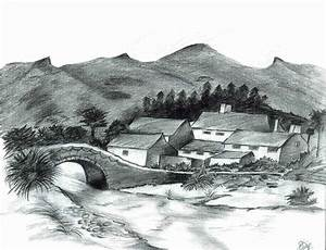 Pencil Sketches of Nature of Sceneries Landscapes of ...