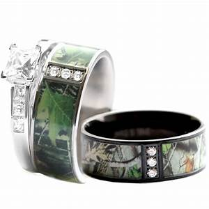 camo wedding ring set for him and her stainless steel With camo wedding ring for him