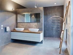 meubles blanc et bois et salle de bain beton cire With salle de bain design avec porcelaine blanche à décorer
