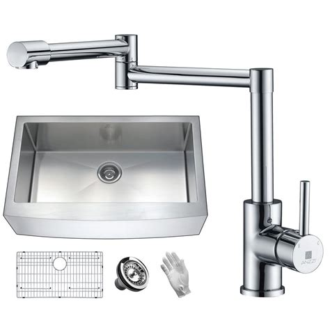 quality stainless steel kitchen sinks anzzi elysian farmhouse stainless steel 36 in single bowl 7618