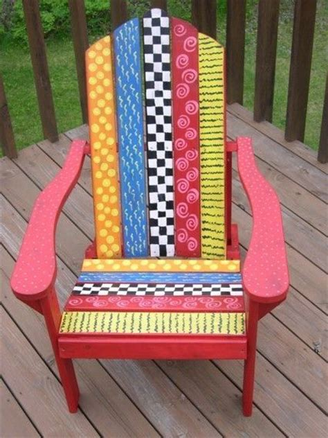 funky folk art chair  elvira painted  hacked