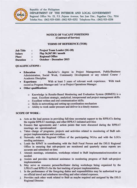Government Resume Guidelines by Notice Of Vacant