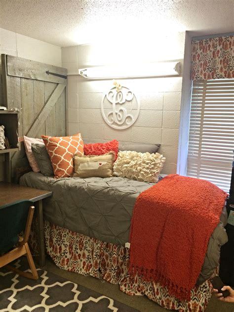 Roommate Decor - great room barnwood door headboard gray and orange