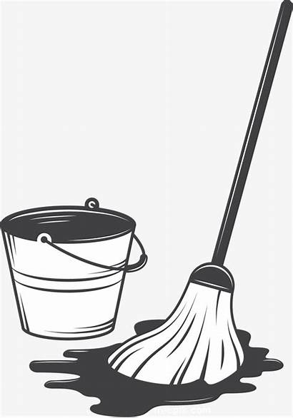 Mop Vector Cleaning Bucket Drawing Tool Supplies