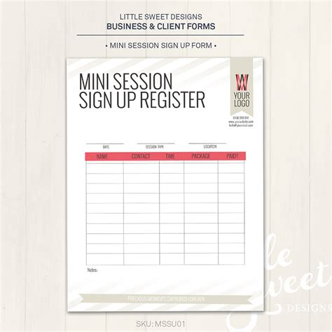 chair printable chair sign up sheet form