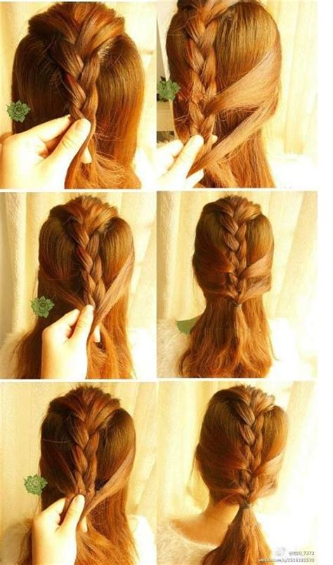 low ponytail with fake french braid bunch of braids