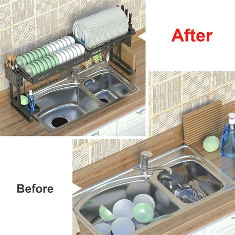 sink dish drying rack adjustable large drainer kitchen shelf holder  ebay