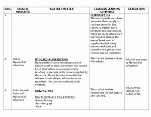 lesson plan on myocardial infarction With nursing lesson plan template