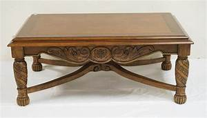 carved coffee table with a stretcher base 50 x 32 inch top With 50 inch coffee table