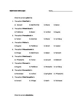 northeast states capitals  abbreviations test